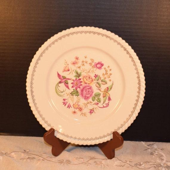 Badonviller Bilbao Plates 4 Vintage KG Luneville French Lunch Salad Plates set of 4 Keller Guerin France China Pink Wedding Decor Gift