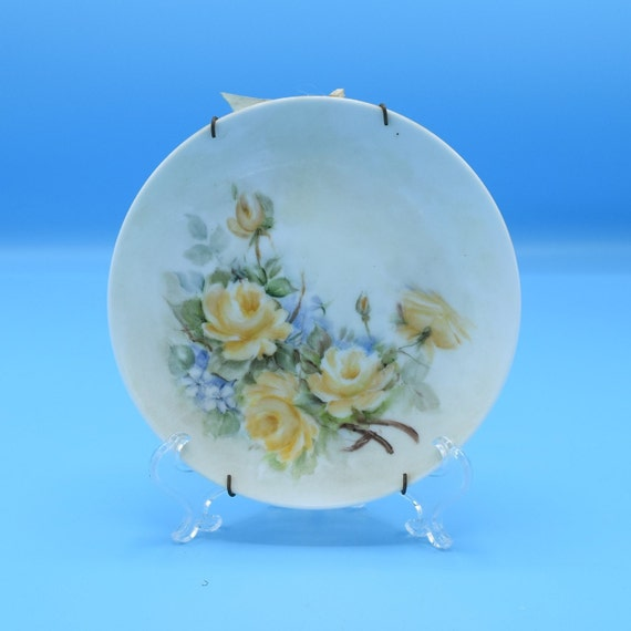 Noritake Hand Painted Yellow Roses Small Plate Vintage Bread and Butter Nippon Toki Kaisha Japan Plate Decor Hanging Plate Free Shipping