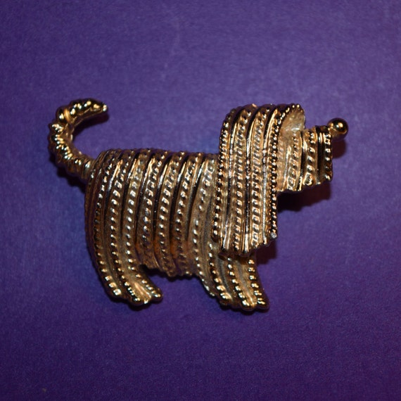 Sarah Coventry Jewelry Shaggy Dog Brooch Vintage Sarah Coventry Gold Tone Schnauzer Brooch/Pin Textured Dog Lapel Pin Dog Collector Brooch