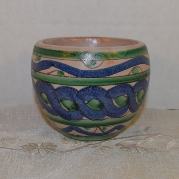 Duca di Camastra Small Planter Vintage Italian Blue Green Pottery Made in Italy Ceramic Clay Short Pot Kitchen Herb Planter Whimsical Pot