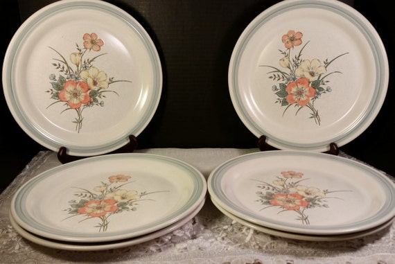 Country Glen Sunny Meadows Dinner Plates Vintage Set of 6 Japan Stoneware Dinner Plate Set Holiday Dinnerware Discontinued Replacement China