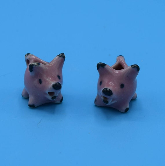 Miniature Pink Pigs Pair Vintage Set of 2 Mini Pigs Jugs Charms Miniature Farm Animals Pig Collector Pig Decor Gift for Her Mothers Day Gift