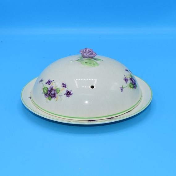 Fondeville Ambassador Ware Covered Breakfast Dish Vintage Made in England Discontinued China 1940s 1950s Purple Violet Covered Dish Gift