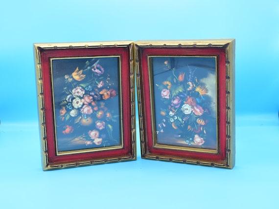 Illinois Moulding Medium Framed Floral Prints Vintage Set of 2 Plastic Red Gold Notched Frames Flower Still Life Gift for Her FREE SHIPPING