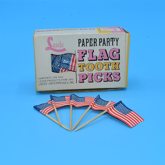 Leeds American Flag Toothpicks With Box Vintage 82 pieces 4th of July American Decor Cupcake Picks Hors D'oeuvres Toothpicks Paper Party