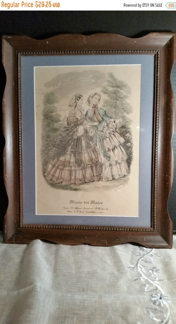 Sale Clearance Miroir des Modes Victorian Print Vintage French Ladies Print Wood Frame Glass French Fashion Wall Hanging Victorian Fashion L