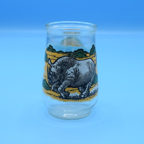 Welch's Black Rhino Juice Glass Vintage World Wildlife Fund Jelly Jar #2 in Series WWF Endangered Species Collection Small Glass Collectible