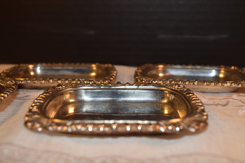 Miniature Silver Plated Trays Made in England Vintage Silver Plated Over Copper Butter Pat Dishes EP Copper Set of 4 English Butter Pads