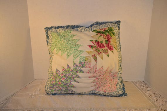 Quilted Pillow Vintage MultiColor Throw Pillow Decorative Cotton Toss Pillow Blue Border White Backing Country Accent Pillow