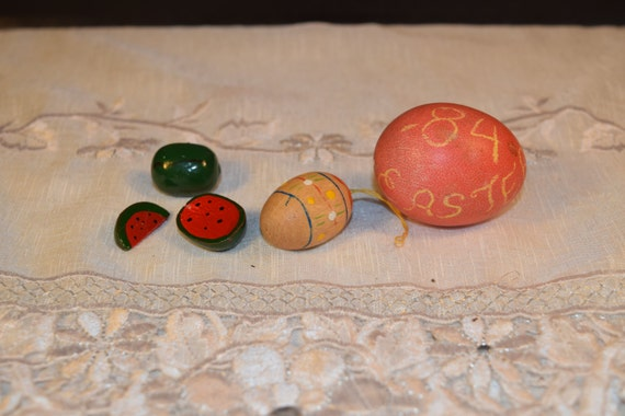 Miniature Spring Easter Egg Ornament Vintage Spring Wooden Miniatures Watermelon Easter Eggs Wooden Easter Tree Ornament Easter Spring Decor