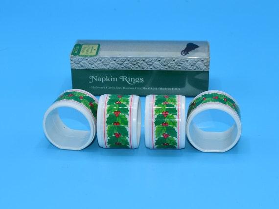 Hallmark Christmas Napkin Rings Vintage Holly Berry Christmas Rings Set of 4 Holiday Decor Christmas Dining Kitchen Decor