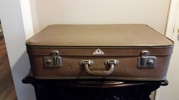 Echt VulkanfibreGerman Luggage 1950's Vintage Hard Case Suitcase Retro Brown Travel Suitcase Steam Trunk German Luggage Up Cycle Luggage