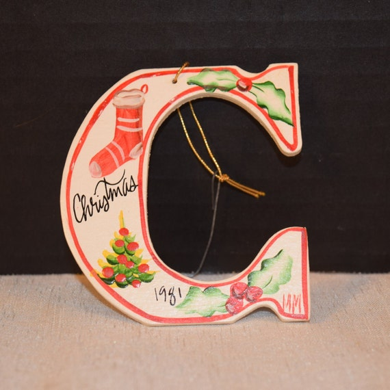 C for Christmas Wooden Painted Ornament Vintage Initial C dated 1981 Christmas Tree Decoration Christmas Collectible Stocking Stuffer