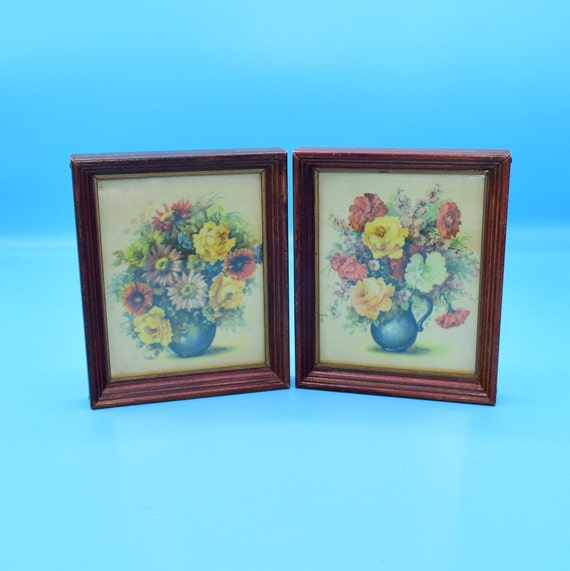Small Wooden Framed Floral Pictures Vintage FREE SHIPPING Flower Vase Still Life Wall Art Pair Colorful Flower Wall Hanging Set of 2
