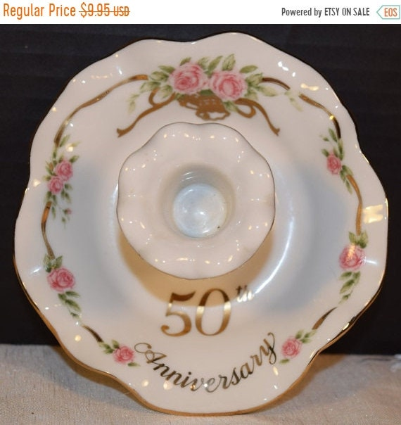 Sale Clearance Lefton 50th Anniversary Porcelain Candle Holder Vintage 1988 Joe Z 07101 Candlestick Holder Gift for Her Gift for Mom Wife An