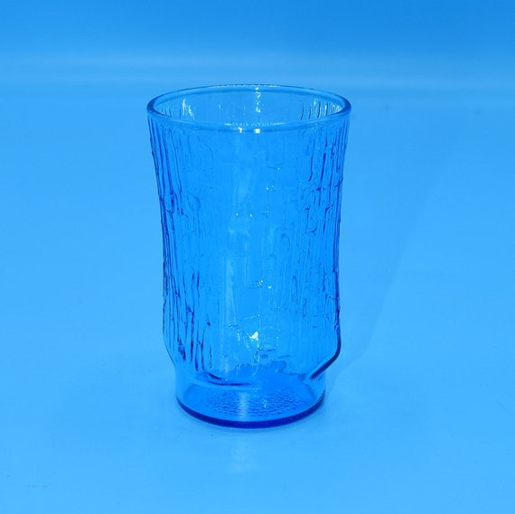 Anchor Hocking Pagoda Laser Blue Flat Tumbler Vintage Bamboo Texture Small Blue Juice Glass Mid Century Modern Glassware Replacement
