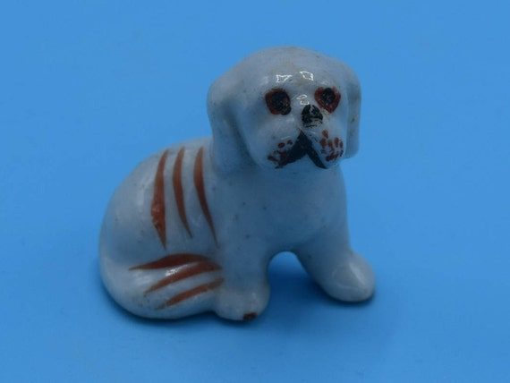 Miniature Japan Lhaso Apso Puppy Vintage Yorkshire Terrier Dog Figurine Brown & White Dog Figure Mini Dog Gift for Her Dog Lover Gift