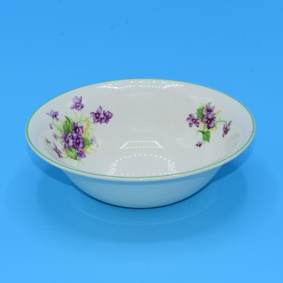 Fondeville Ambassador Ware Bowl Vintage Purple Violet Cereal Soup Bowl Made in England Wedding Gift for Her Purple Breakfast Dish