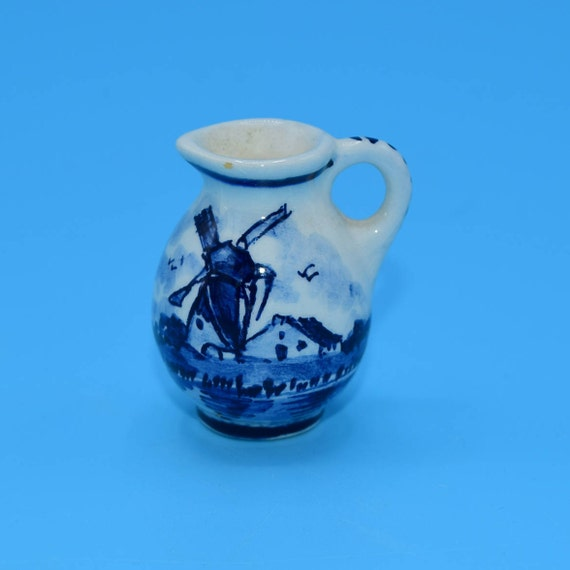 Delft Blue Miniature Pitcher Vintage Dollhouse Blue and White Creamer Mini Windmill Jug Made in Holland Gift for Her Mothers Day Gift