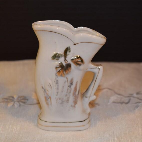 Nippon Yoko Boeki Co Miniature Vase Vintage Ivory Nippon Miniature Gilt Vase Nippon Collectible Dresser Vanity Decor Windowsill Vase