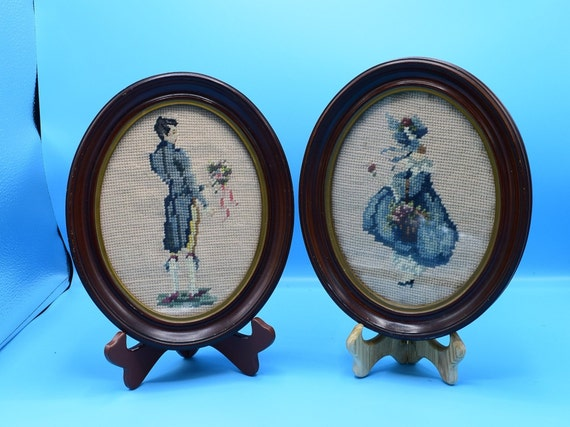 Oval Pair Needlepoint Pictures Vintage Wood Framed Oval Cross Stitch Victorian Man and Woman Shabby Chic Victorian Decor Gift for Her