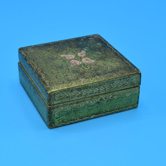 Italy Trinket Box Vintage Florentine Gold Gilt Box Jewelry Storage Holder Pink Flowers Wedding Decor Gift for Her Anniversary Gift