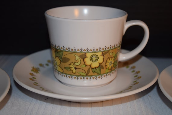 Noritake Progression Festival 4 Cups & Saucers Vintage Cup Saucer Set of 4 Hard to Find 1970s Noritake Replacement Discontinued China