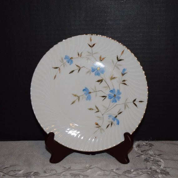 Blue Floral Salad Plate Vintage Gilded Blue Spray Lunch Salad Plate Replacement China Gift for Her Mothers Day Gift Wedding Plate
