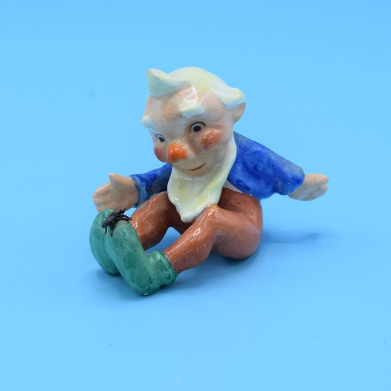 German Gnome with Fly on feet Figurine Vintage Ceramic White Haired Dwarf Made in Germany Gift for Him Desk Vanity Decor Christmas Gnome