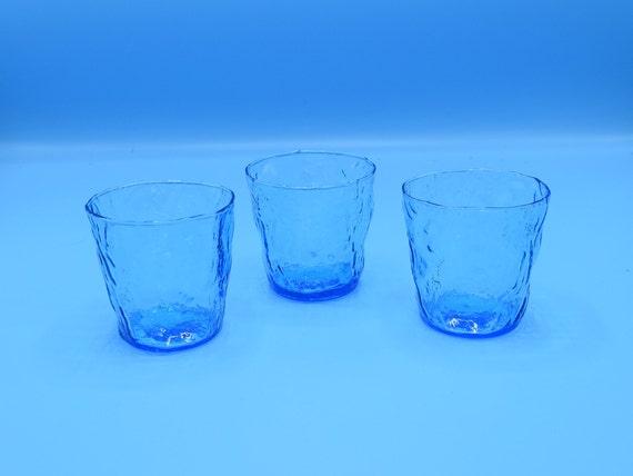 Blue Crinkle Glass Set of 3 Vintage Seneca Driftwood Cornflower Blue Juice Glass Set Anchor Hocking Milano Blue Whiskey Glass Set