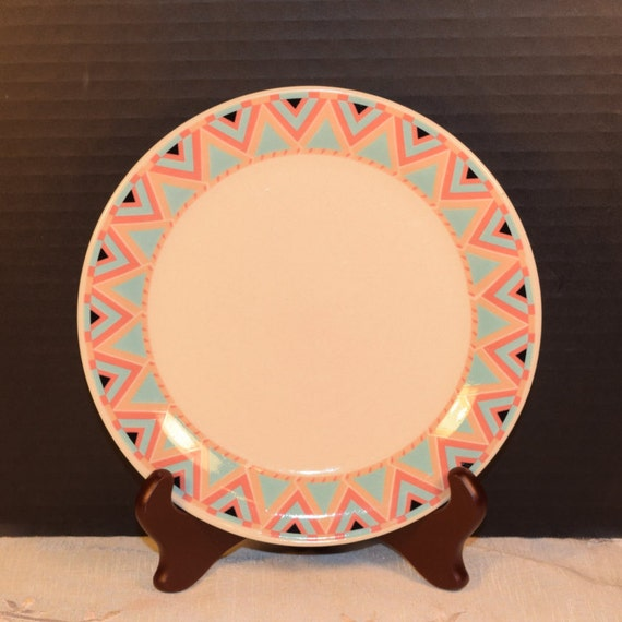 Sango Zuni Lunch Plate Vintage Japan Stoneware 1980s Lunch Plate Southwest Pattern American Indian Style Discontinued China Replacement