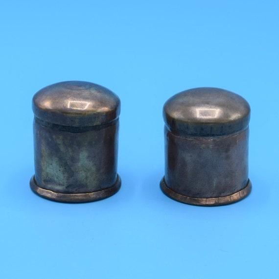 Copper Felt Containers Set Vintage Pair Cylindrical Copper Cans Lids Miniature Copper Storage Dollhouse Copper Pot Container Primitive Ware