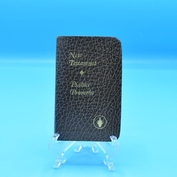 Bible Small Brown New Testament 1985 Vintage Psalms Proverbs Pocket Bible Lords Prayer Religious Book Christian Keepsake Gift FREE SHIPPING