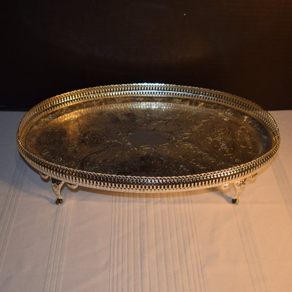 Mayell Queen Anne Footed Tray Vintage EP on Steel Serving Tray Made in England Claw Footed Servingware Holiday Dinner Party Decor