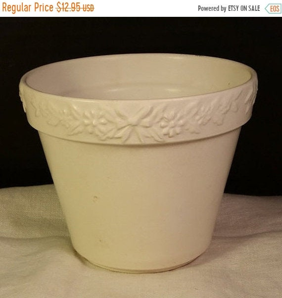 """Sale Clearance German Handmade Pottery Planter Vintage Bows Flowers Made in Germany Ivory Cream Planter 4"""" Tall Small German Pot Flowers Lea"""