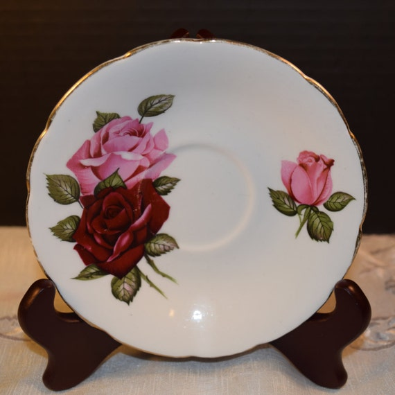 Dark Rose English Saucer Vintage England Rose Saucer Gold Rim Bone China Holiday Dinnerware Gift for Her Mothers Day Gift Wedding Decor