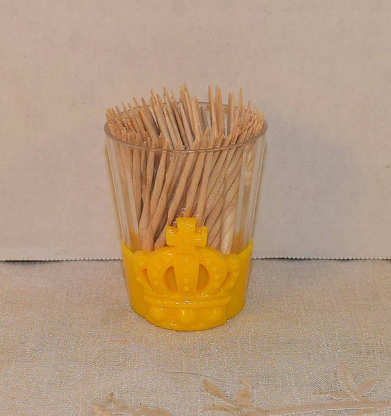 Crown Yellow Plastic Toothpick Holder Vintage Game Night Poker Theme Toothpick Holder Card Themed Tooth pick Holder Bachelor Party Decor