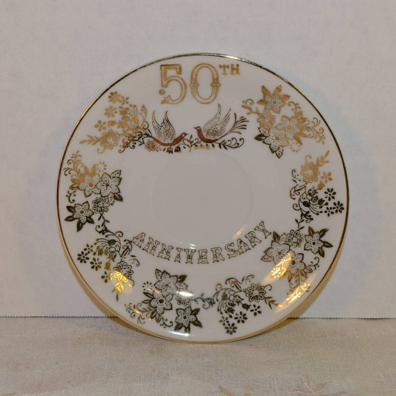 Japan 50th Anniversary Saucer Vintage Golden 50th Wedding Anniversary Plate Doves Birds Flowers Gold Wedding Gift Plate Couple Gift