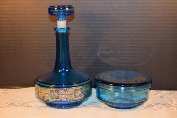 Belgium Blue Decanter Powder Box Set Vintage 1940s Caribbean Blue Glass Bottle Rubber Stopper Powder Box Gold Filigree Mid Century
