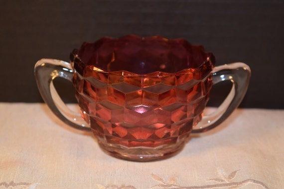 Cranberry Flash Glass Sugar Bowl Double Handle Vintage Diamond Block Ruby Red Glass Sugar Bowl Gift for Her Mom Mother Wife Friend Hostess
