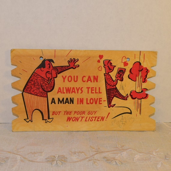 Love Wooden Post Card Vintage Funny Wood Post Card Used Stamped Written Wood Sign Post Card 1950s Memorabilia Souvenir Post Card