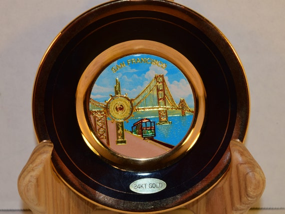 Chokin Plate San Francisco Souvenir Vintage Japanese Art 24K Gold Plate Fishermans Wharf Trolley Golden Gate Bridge Plate San Francisco Art