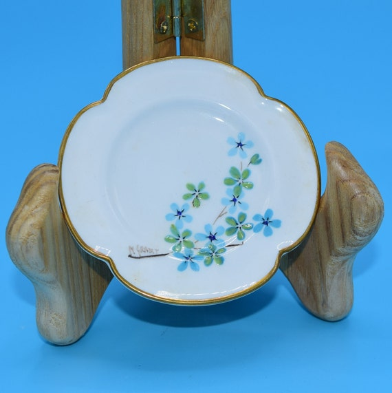 Caverswall Clover Shaped Butter Pat Plate Vintage Blue Green Floral Butter Pat Artist Signed Clover Trinket Dish Ring Holder Gift for Her