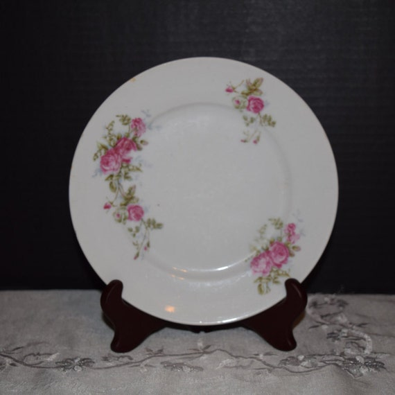 KPM Germany Lunch Plate English Rose Spray Vintage Pink Rose