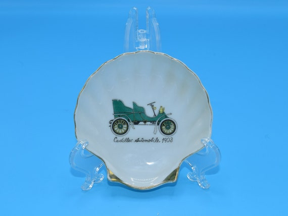 Cadillac Automobile 1908 Shell Dish Vintage Devos Lemmens Souvenir Shell Plate Antique Cadillac Trinket Jewelry Tray Sea Shell Display