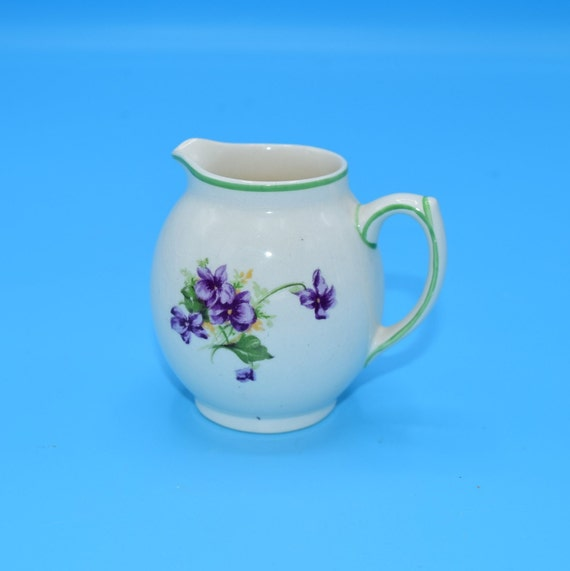 Fondeville Ambassador Ware Creamer Vintage Small Purple Flowers Creamer Made in England Wedding Gift for Her Afternoon Tea Party Dish
