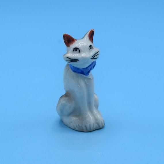 Japan Miniature Cat Figurine Vintage Siamese Cat Ceramic Figurine Kitty Kitten Mini Figure Shadowbox Decor Desk Vanity Figurine