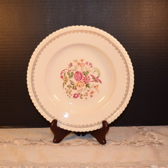 Badonviller Bilbao Bowls 4 Vintage KG Luneville French Soup Cereal Bowls Keller Guerin France Dinnerware Pink Wedding Decor Gift for Her