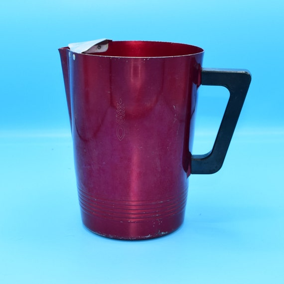 Regal Ware Red Aluminum Pitcher Vintage Regalware Supreme Red Anodized Aluminum Pitcher Pineapple Design Black Bakelite Handle Ice Lip