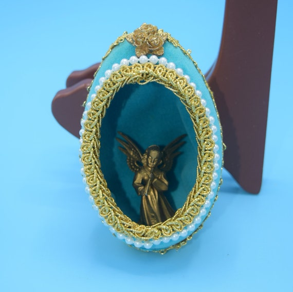 Faberge Blue Egg Christmas Ornament Vintage Gold Aqua Decorated Egg Angel Decoupage Christmas Egg Angel Playing Flute Ornament
